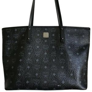 MCM Black Leather All Over Print Tote Bag